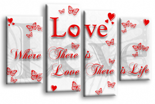 Love Quote Wall Art Print White Red Family Picture